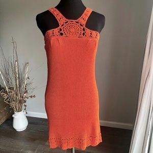 Knitted Dark Orange Dress with Crochet Detail